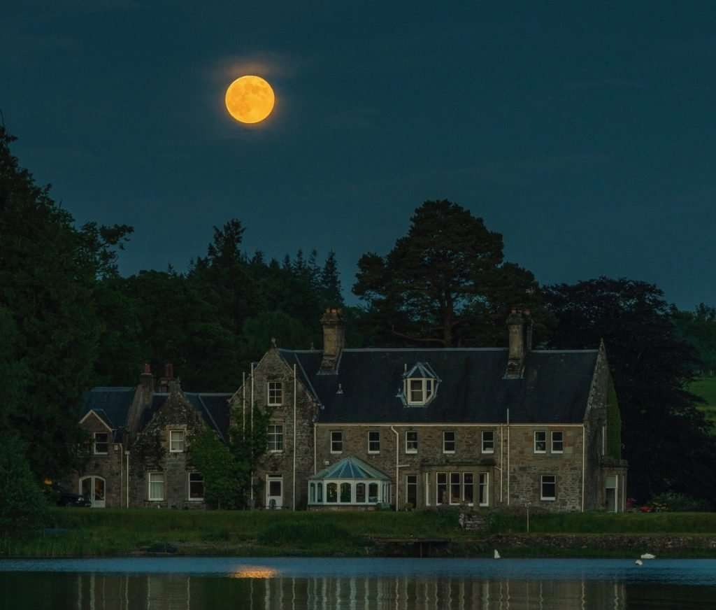 Night sky and full moon over Lochend House